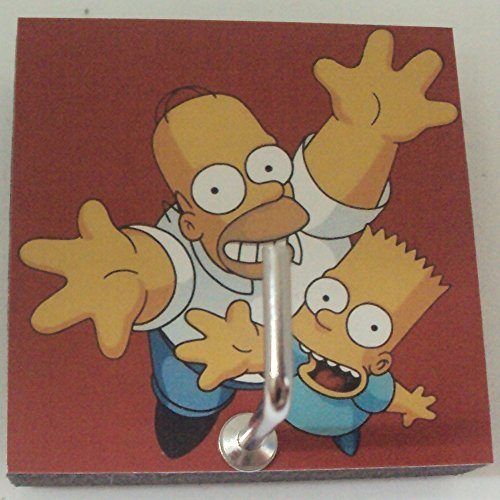 Agility Bathroom Wall Hanger Hat Bag Key Adhesive Wood Hook Vintage Red The Simpsons Homer & Bart's Photo