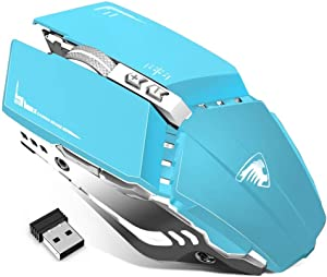 TENMOS T12 Wireless Gaming Mouse Rechargeable, 2.4G Silent Optical Wireless Computer Mice with Changeable LED Light Compatible with Laptop PC, 7 Buttons, 3 Adjustable DPI (Blue)