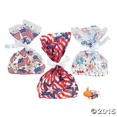 36 ~ Patriotic Cellophane Goody Bags ~ Approx.