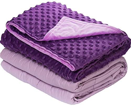 10 lbs Weighted Blanket with Dot Minky Cover for Kids Teens (Inner Light Violet/Cover Dark Violet & Violet, 48