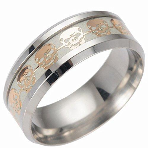 Diseño de calavera luminoso anillos, windgoal brilla en la oscuridad de acero inoxidable Anillo de boda banda para hombres...