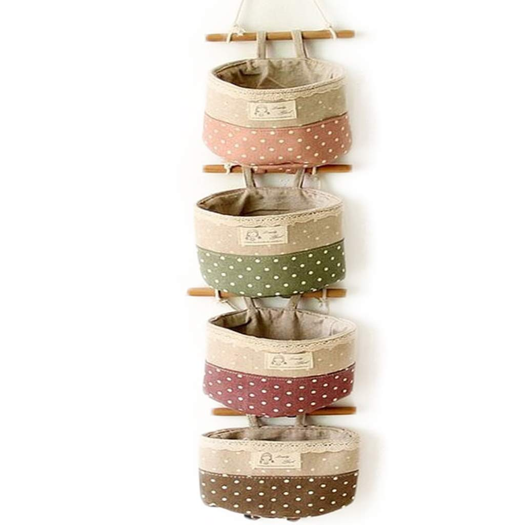 4 Pockets Linen Cotton Fabric Pouch Wall Door Closet Hanging Storage Organizer Bag Multi-Functional Living Room Bedroom Bathroom Saver Bag Alishare