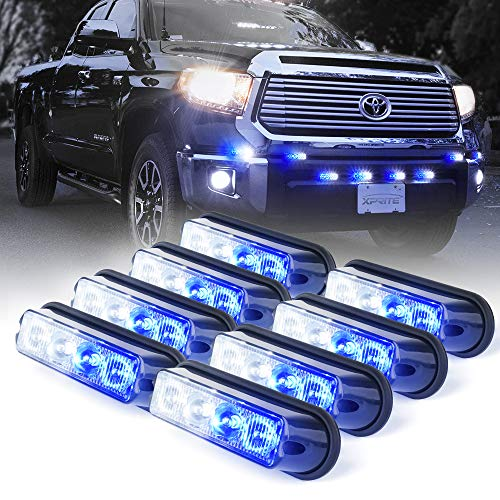 Xprite White & Blue 4 LED 4 Watt Emergency Vehicle Waterproof Surface Mount Deck Dash Grille Strobe Light Warning Police Light Head with Clear Lens - 8 - Strobe Blue