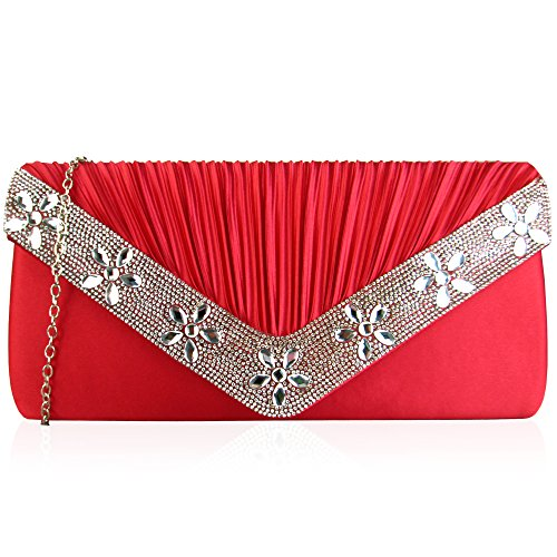 Clutch Sparkling Ladies Envelope Xardi Wedding Party Satin Pleated Bags Floral Gems Diamante London Evening Red Party For Bridesmaid Women Bridal fqXpawq