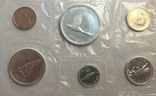 CA 1967 Canada Uncirculated Mint Set 6 PC Centennial Proof Like Silver Bri Canadian Mint Coin Set