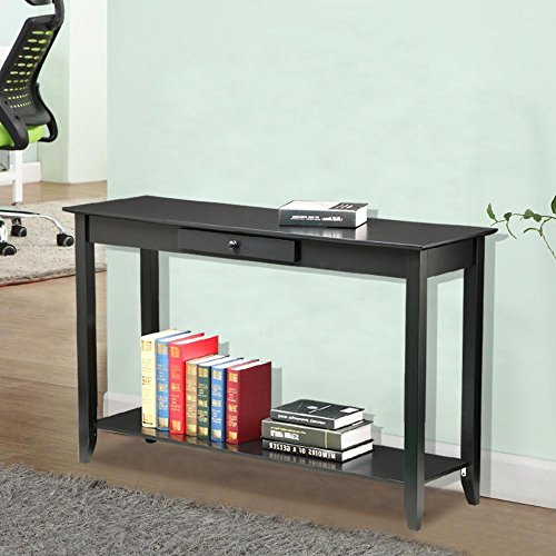 Topeakmart 2 Tiers Concepts Wood Console Table with Drawer and Shelf Living Room Entryway Furniture, Black