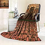 YOYI-HOME Fashion Designs Warm Duplex Printed Blanket Old Brick with Antique Dirty and Windows Sofa,Air-Conditioner Room/69 W by 47'' H