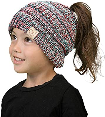 359af1a0c7a BT2-3847-816.4246 Kids Messy Bun Ponytail Hat Girls Beanie Tail - Red/