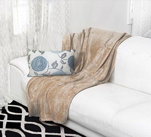 Tan Plush (Premium Velvet Ultra Soft and Luxurious Plush Textured Couch Throw Blanket, 50