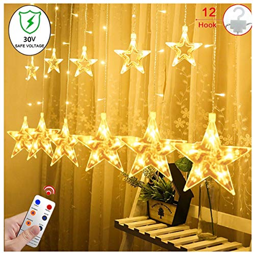 Star Curtain String Lights, 12 Star 138 LED Window Lights Waterproof 12 Strings with 8 Flashing Modes RF Remote Decoration for Christmas, Wedding, Party, Home, Patio Lawn, 8.2ft x 3.2ft (LxW)