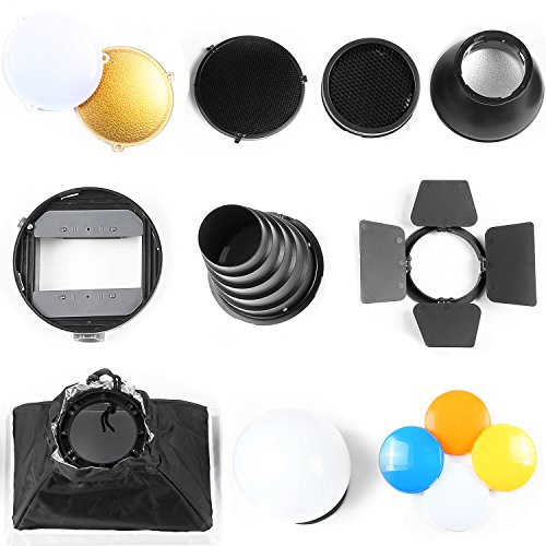 Neewer Pro (Pro Version of Neewer Product) Speedlite Flash Accessories Kit with Barndoor, Conical Snoot, Mini Reflector, Sphere Diffuser, Beaty Disc, 8