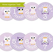 Home-organizer Tech Baby Month Stickers Cartoon Owl Boy Girl 1-12 Monthly Milestone Sticker Best Birthday Shower Gift Party Photo Age Sticker