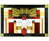 "Mission Style, Craftsman Color, 20.5"" x 14"" Horizontal Stained Glass Panel"