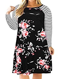 Womens Floral Print Casual Sleeved A-line Loose Plus Size T-Shirt Dress with