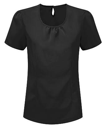 7086e193717de Womens Round Neck Crepe De Chine Blouse - NF64  Amazon.co.uk  Clothing