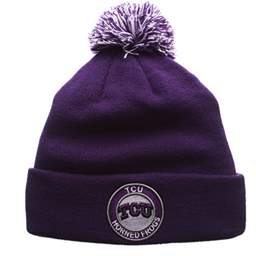 ZHATS Texas Christian Horned Frogs Purple Cuff Beanie Hat with POM POM - NCAA TCU Cuffed Winter Knit Toque Cap
