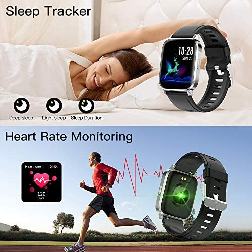 RUNDOING Smart Watch for Men Women,1.54″ Fitness Tracker iP68 Waterproof Watch with Heart Rate Monitor, Calorie Counter,Pedometer Smartwatch Compatible for Android Phones iPhone 51uu3C5drpL
