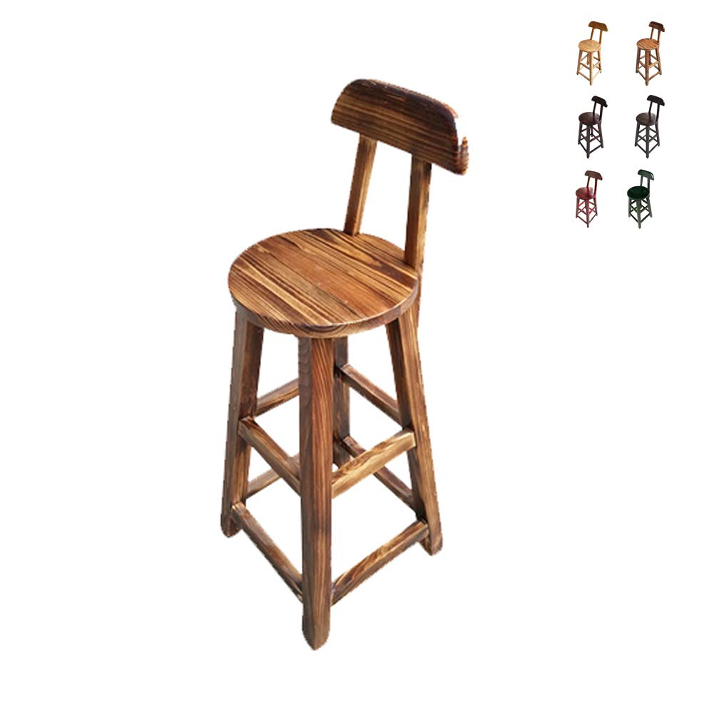 B Solid Wood Retro Bar Stool - Home Dining Table and Chair Backrest High Stool - High 90cm
