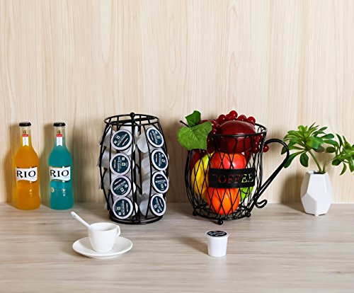 PAG Coffee Pod Holder with Storage and Metal Wire Mug Fruit Basket, Black by PAG (Image #1)