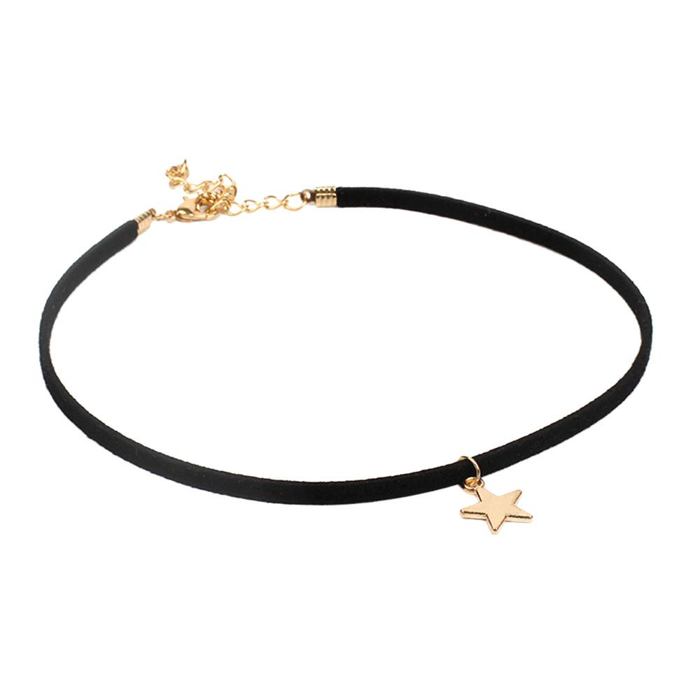 Clavicle Necklace,QHJ Fashion Stretch Velvet Classic Gothic Tattoo Lace Star Choker (Black)