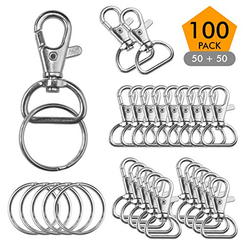 Metal Swivel Clasps Lobster Claw Clasp Lanyard Snap Hook (100 Pack) 1 5/8