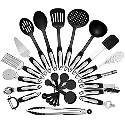 26 Piece Kitchen Utensils Set & Cooking Tools, Stainless Steel & Nylon Gadgets, Includes Turner, Tong, Spatula, Pie Server, Pizza Cutter, Whisk, Grater, Peeler, Can Opener, Measuring Cups & Spoons by Laxinis World