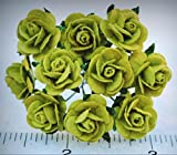 Mulberry Paper Flower Tiny Rose Lime Green 5/8 15mm miniature for paper craft - My Mini Fairy Garden Dollhouse Accessories for Outdoor or House Decor