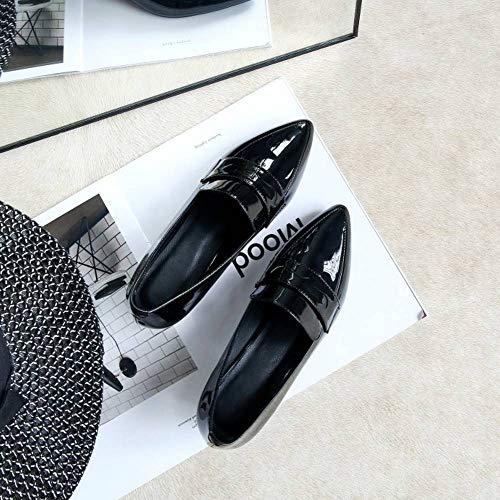 Femmes Pointu Elegant Bloc Chaussures Kaizi Karzi Flaneurs Noir pawqn5H