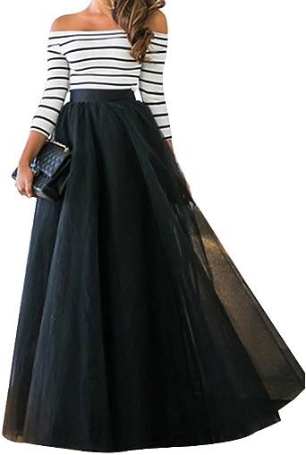 Aelegant damska jesień elegancka Off Shoulder A-linia sukienka maxi paski tiulowa sukienka 3/4 rękawy długa wieczÓr sukienka na imprezę sukienka balowa: Odzież