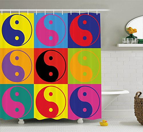 Ambesonne Ying Yang Decor Shower Curtain Set, Pop Art Design Yin Yang Signs Hippie Style Eastern Asian Decorations Peace And Balance, Bathroom Accessories, 69W X 70L Inches, - Rug Yang Yin