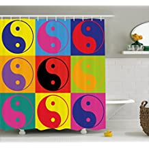 Ambesonne Ying Yang Decor Shower Curtain Set, Pop Art Design Yin Yang Signs Hippie Style Eastern Asian Decorations Peace And Balance, Bathroom Accessories, 69W X 70L Inches, Multi