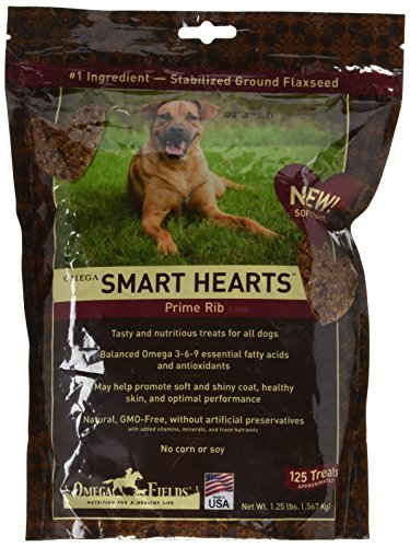 Omega Fields Balanced Omega-3-6-9 Soft Baked Flax Treats in Prime Rib Flavor for Dogs, 1.25 lb by Omega Fields