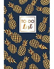 """To Do List: Pineapples Gold, Daily Work Task Checklist, Daily Task Planner, Checklist Planner School Home Office Time Management, To Do List Notebook for Work Planner, Size 6"""" x 9"""" 100 Pages"""