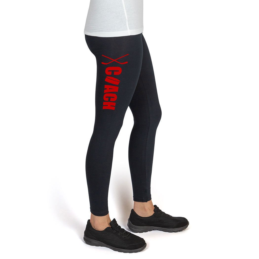 Hockey High Print Legging Coach with Puck and Sticks