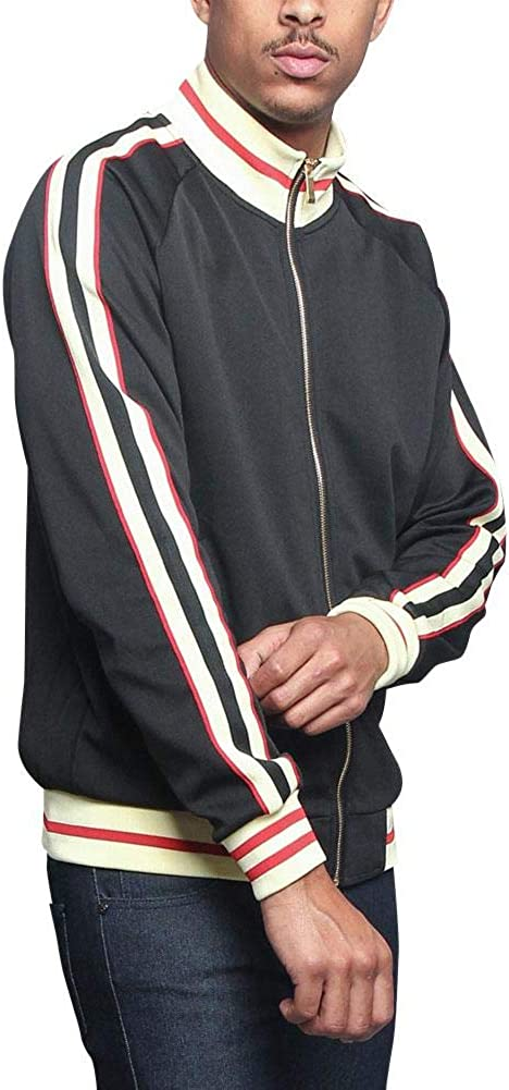 G-Style USA Mens G Tri-Tone Striped Track Jacket JK5014 V3F 3X-Large Black