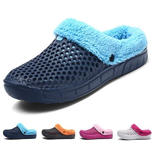 Chaussons Maison Jardin Peluche 41 Femmes D'intérieur Bleu slip Intérieur Pantoufles D'extérieur Eu Anti Douces Hommes Chaussures Sabots Hiver Chaud Coton R8dzqq