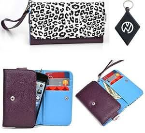 Alcatel OT-918 Phone Holder Wristlet Wallet Cover Protective Case [ White Leopard Purple ] + NuVur Keychain (ESAMMTL1)