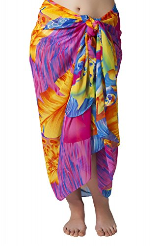 Plus Size Swimsuit Sarong Cover up in Bright Hawaiian Floral Print