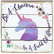 """Unicorns - Perfect Pallet Petites 6"""" X 6"""" Wood Wall Art Sign (Be a Unicorn In A Field of Horses)"""