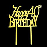 Happy 40th Birthday Cake Topper Acrylic Gold Mirror for 40th Anniversary Birthday Party Decorations Supplies