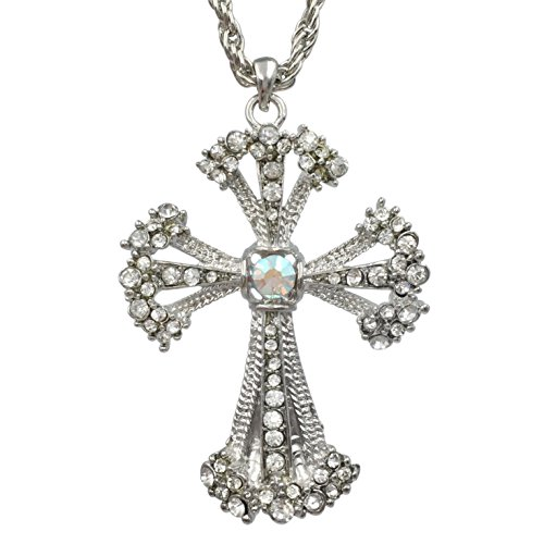 Rhinestone Christian Cross Blingy Necklace (Silver Tone Ornate)