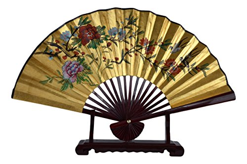 (1980s Vintage Classic 27-inch Hand-painted Decorative Fan, Paper Fan, Gold Leaf, Magpies Cherry Blossom Poeny Blessings of Good Luck, Chinese Japanese Style, with Stand (T202))