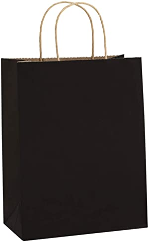 BagDream 50Pcs Gift Bags 8x4.25x10.5 Inches Paper Bags Shopping Bags Kraft Bags Retail Bags Party Bags Merchandise Bags Black Paper Gift Bags with Handles Bulk