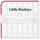 SwaddleDesigns Ultimate Swaddle Blanket, Made in USA, Ohio State University, Little Buckeye