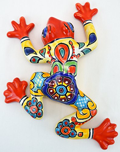 "Talavera Wall Frog 8"" Hand Painted Ceramic Garden Decor (Red)"