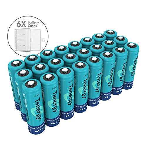 Tenergy NiMH AA Battery, 1.2V Rechargeable AA Batteries, High Capacity 2600mAh 24 Pack Double A Cell Battery, Bonus 6 PCS Battery Case