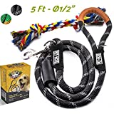 Pet-Nose Strong Dog Leash Rope-Leashes for Medium and Large Dogs with 5ft Long Heavy Duty Mountain Climbing Rope Reflective & Comfortable Padded Handle (BLACK) for No Pulling Dogs+Chew Resistant Toy