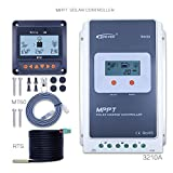 PowMr 40amp 30amp Mppt Solar Charge Controller 12V 24Volt Outdoor 100V Input Tracer 3210A+Remote Meter MT50 Solar Charger with LCD display for rv and campe (3210A+MT50+RTS)