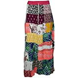 Mogul Interior Womens Patchwork Skirt Vintage Patches Ethnic Peasant Long Skirts S/M (Multi)