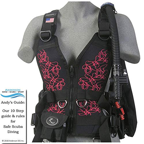 Zeagle Zena BCD Magenta Pink Floral Size Small - Womens Buoyancy Compensator Ripcord Weight System Twin Waist Hip Band Bundle Andersons Scuba Safety Guide ()